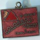 COLORADO : Enamel & Unmarked Silver Travel Souvenir Map Charm
