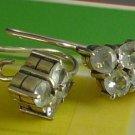Sheppard's Hook Earrings : Silver Small Pale Blue Gemstones In A Diamond Shape