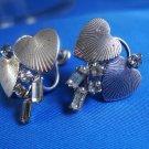 Vintage Screw Back Earrings Sterling & Rhinestone Hearts ~ Signed Carl Arts
