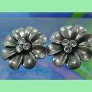 Vintage Flower Pierced Post Earrings : 3 Rhinestone Center : Unmarked Silver