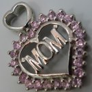 Mother's Day Heart Pendant : sterling Pink Stones For Mom - Heart Bale
