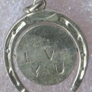 vintage CHARM : I LOVE YOU SPINNER LUCKY HORSESHOE : JMS STERLING 925 SILVER