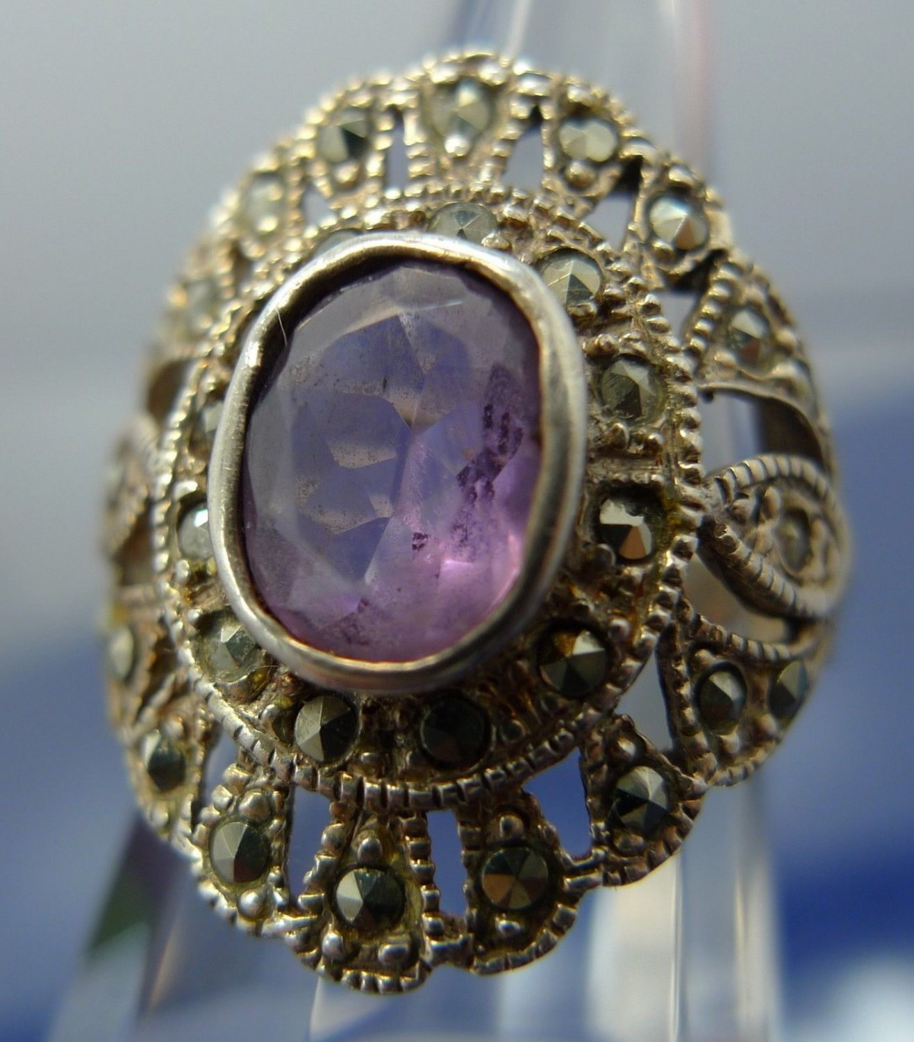 """Size 6 Ring : Sterling silver Marcasite and Amethyst signed  """"GM"""" or """"CM"""" Thai"""