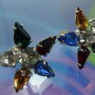Vintage Screwback Colorful B. David Multi Pear Stones To Form A Star