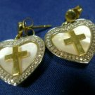 Post Earrings Gold Vermeil over Sterling Cross & Heart Dangle Mother of Pearl