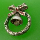 CHRISTMAS CHARM: VINTAGE SILVER & ENAMEL WREATH w/ BOW AND BELL