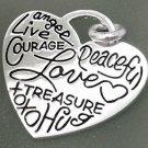 HEART CHARM: WORDS OF LOVE by LA (CONJOINED) ROCKS sterling