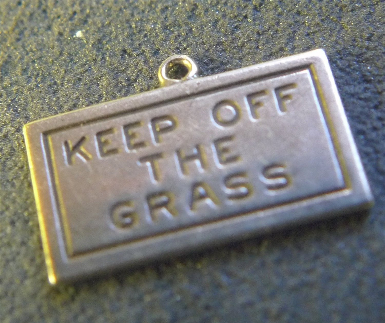 """vintage CHARM : UNMARKED SILVER : READS """"KEEP OF THE GRASS"""""""