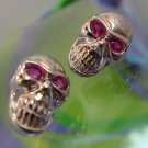 Vintage Post Earrings : Sterling Skulls w/ Firey Ruby Red Eyes Post Earrings