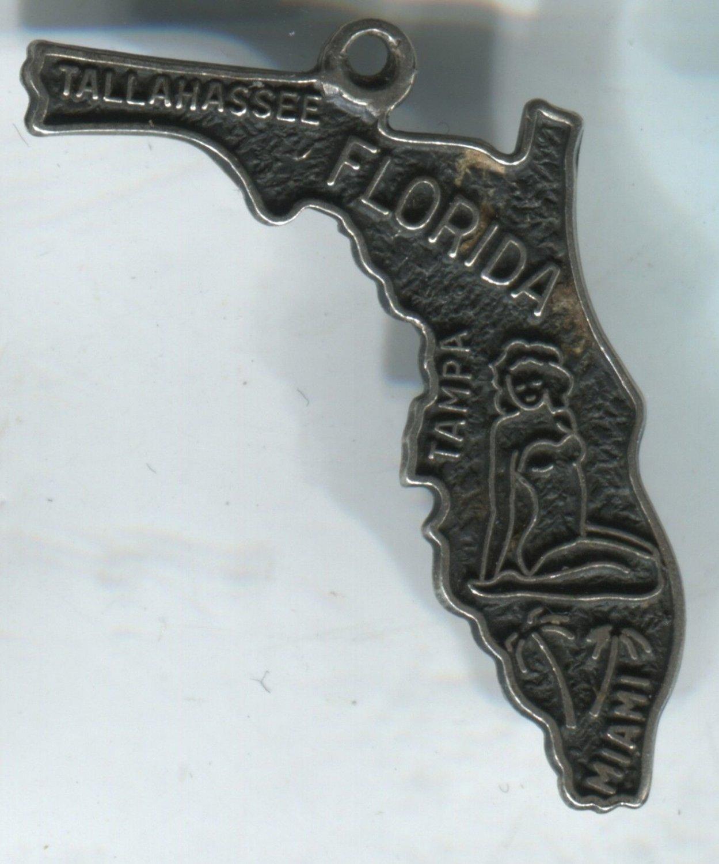 VINTAGE BEAU STERLING FLORIDA MAP SOUVENIR CHARM #4 BATHING SUIT LADY