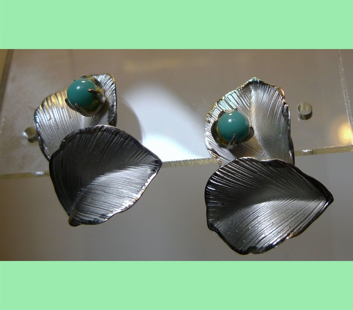 Sterling 925 Silver Leaf Clip Earrings W/ Turquoise Beads Signed PCH-LIND?