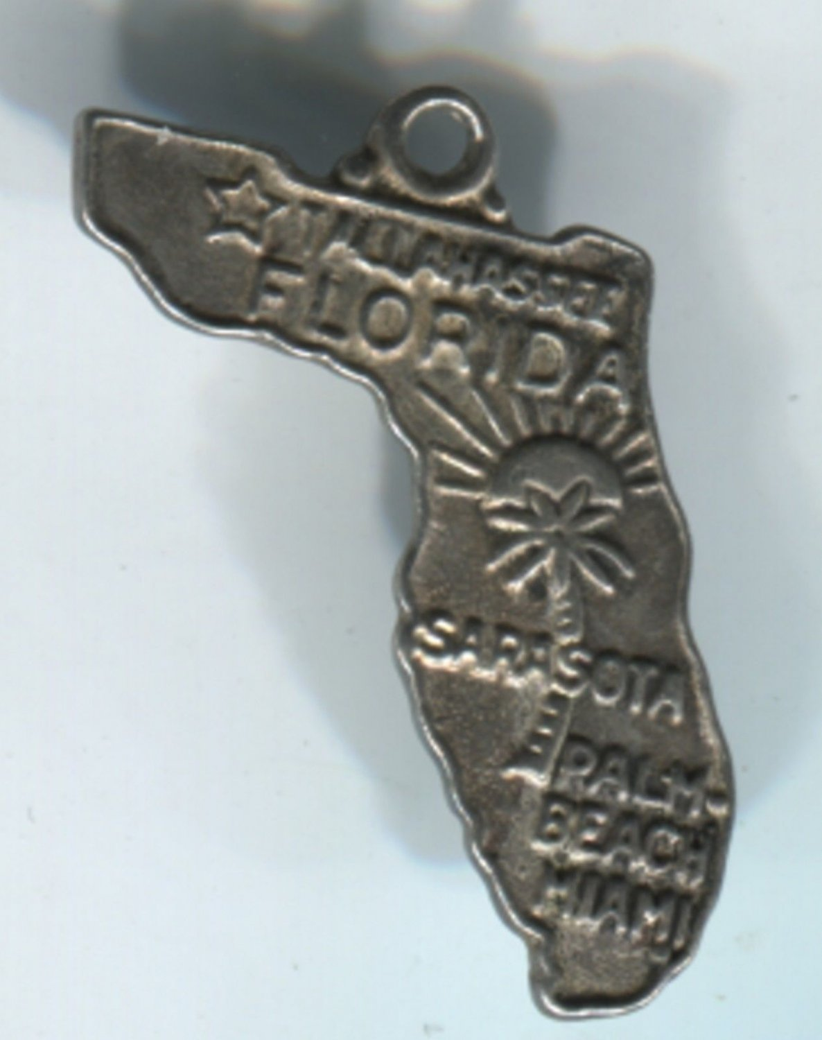 VINTAGE STERLING SILVER FLORIDA MAP SOUVENIR CHARM #7 BELL STERLING