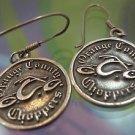 Sheppard's Hook Motorcycle Logo Earrings Sterling 925 Silver Orange County Chop