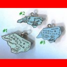 vintage BLUE ENAMEL TRAVEL SOUVENIR MAP CHARM : #2 N. CAROLINA  23 x 14 STERLING