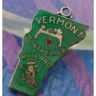 vintage GREEN ENAMEL TRAVEL SOUVENIR MAP CHARM : VERMONT : JMF STERLING