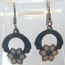 Hook Earrings TS-32 (Taxco) Mexico Sterling Enamel & Mosaic Inlaid Turquoise