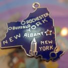 vintage BLUE ENAMEL TRAVEL SOUVENIR MAP CHARM : NEW YORK : STERLING