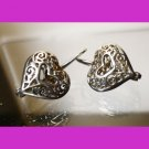 Clasped Hook Leverback  Earrings : Filigree Heart Sterling Silver Marked SU & DN