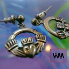 Vintage Dangling Claddagh Charm Post Earrings : Sterling Silver Signed WM Co