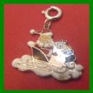 vintage CHRISTMAS Wells Sterling HOLIDAY CHARM Enamel Santa Claus in His Sleigh