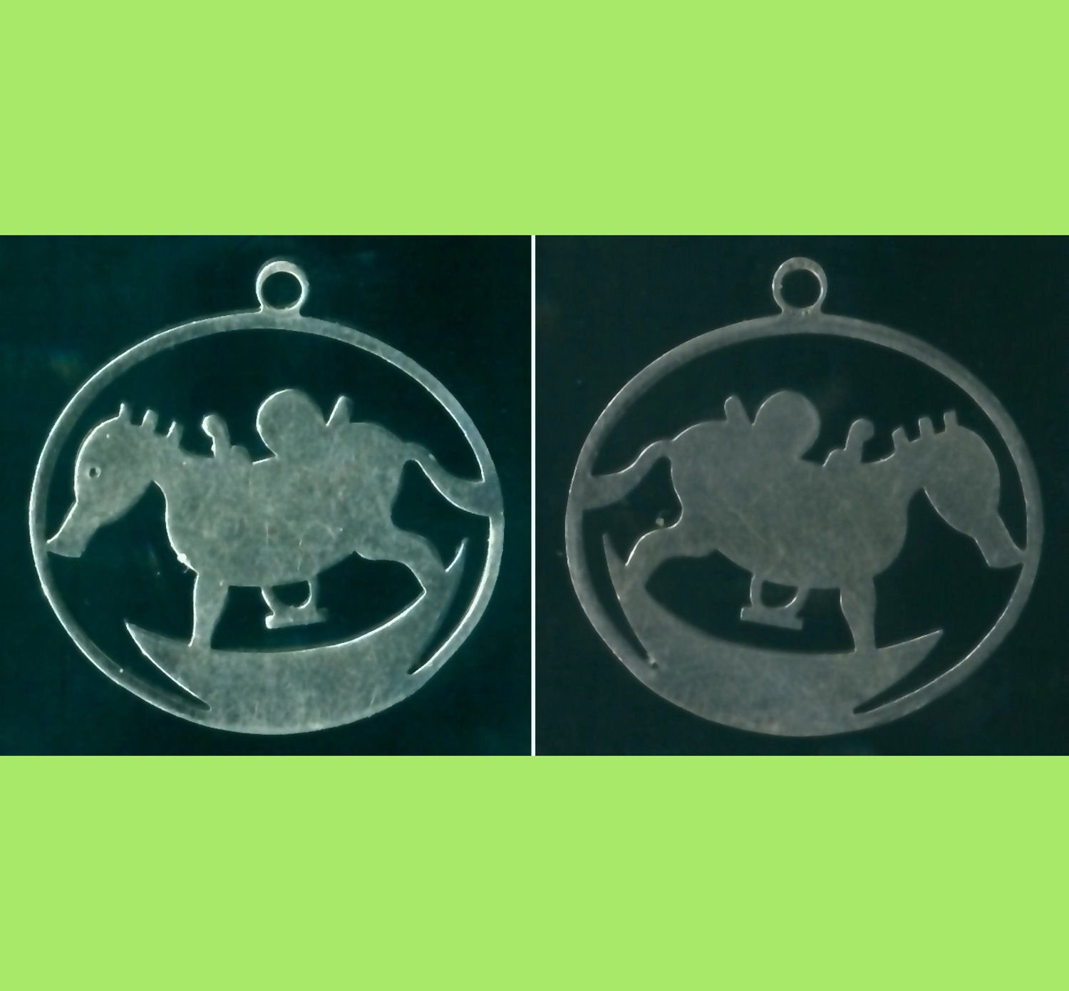 UNUSUAL LOOKING CHILD'S ROCKING SEAHORSE STENCIL CHARM signed JMS