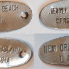 4 SOUVENIR CHARM HANG TAGS CITY STATE NEW ORLEANS 2 JEKYLL ISLAND, MYRTLE BEACH