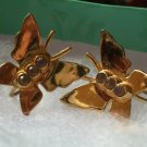 Vintage Screw Back Earrings : Coro Butterfly Gold Vermeil on Sterling Silver