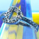 "Size 8 Ring : Sterling Silver Initial ""D"" Cubic Zirconia Pave CZ Designer Signed"