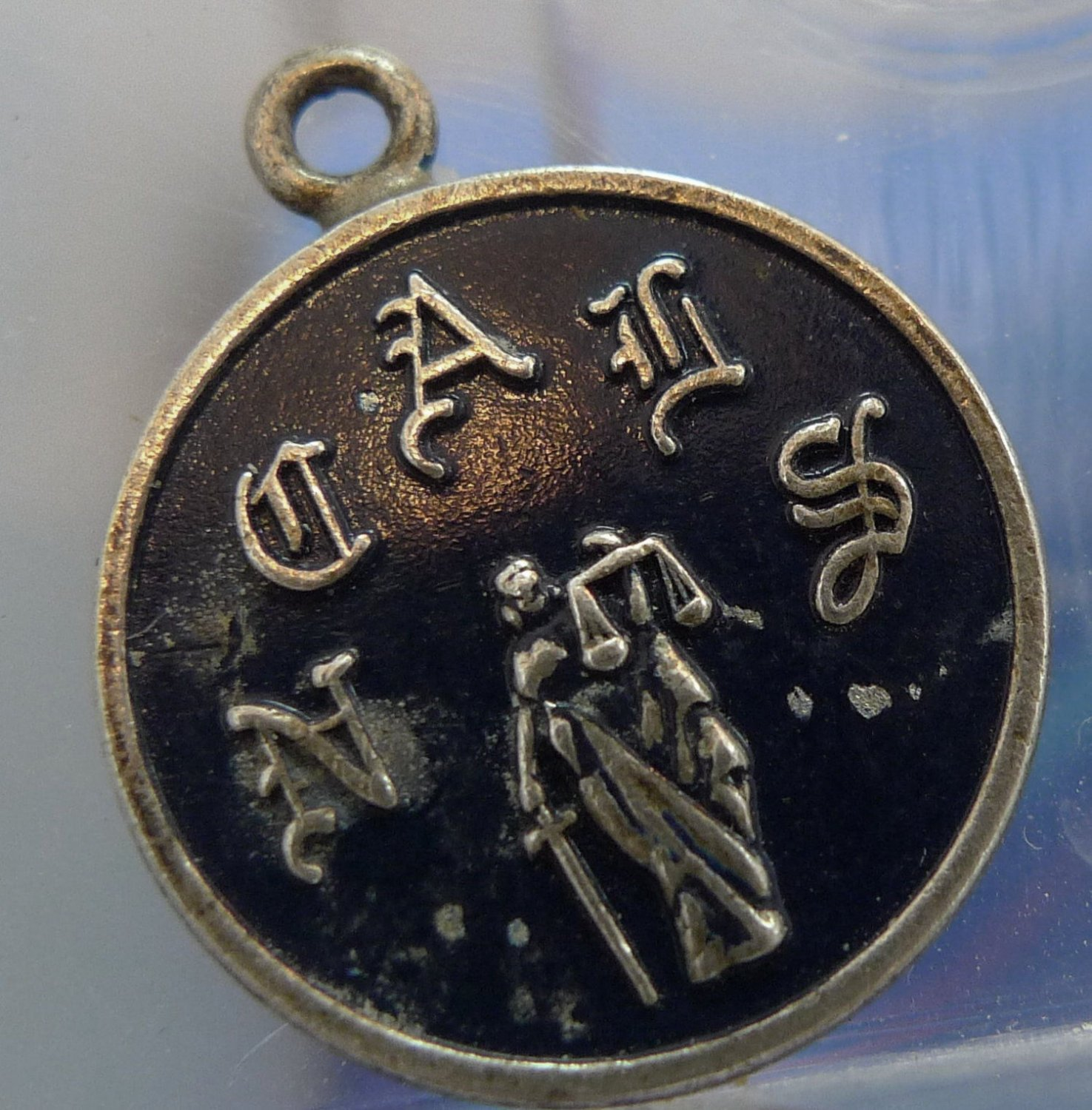 vintage CHARM : NCAIS OR NCAUS / JUSTICE / BLACK ENAMEL & STERLING signed B