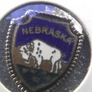 NEBRASKA  Enamel & Silver Travel Shield Souvenir Charm