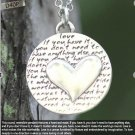 Inspirational Kevin & Anna Charm 950 Silver / HEART = LOVE QUOTE / 16mm