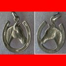 vintage SHUBES STERLING HORSE IN HORSE SHOE GOOD LUCK CHARM