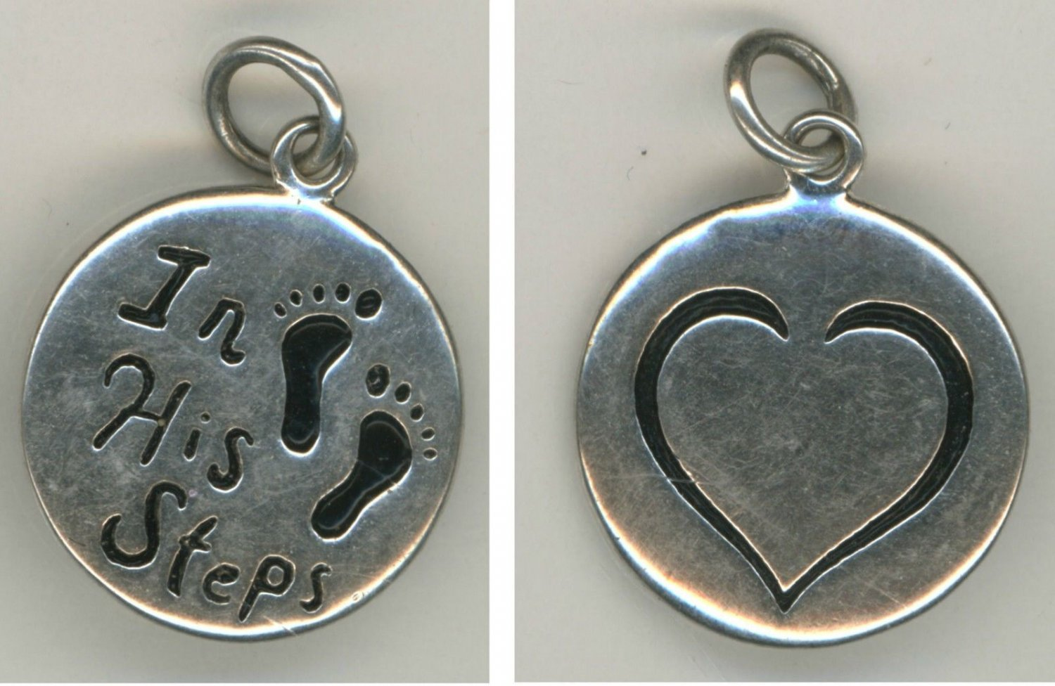 """RELIGIOUS CHARM : 925 silver : """" IN HIS STEPS """"  signed LA (LA-ROCKS) STERLING"""