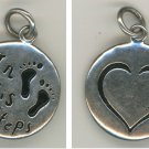 "RELIGIOUS CHARM : 925 silver : "" IN HIS STEPS ""  signed LA (LA-ROCKS) STERLING"