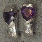 Post Earrings : Amethyst Heart Above 2 Cubic Z :  Post Sterling Silver Earrings