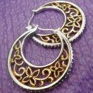 Vermeil Filigree Sterling 925 Silver Hoop Earrings w/ CZ Edge - Beautiful - NWOT