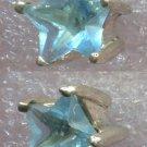 BABY BLUE STAR CUT UNMARKED SILVER PIERCED POST STUD 10mm EARRINGS