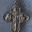 Vintage Silver or Pewter 4 Way Cross - I am a Catholic - Call a Priest