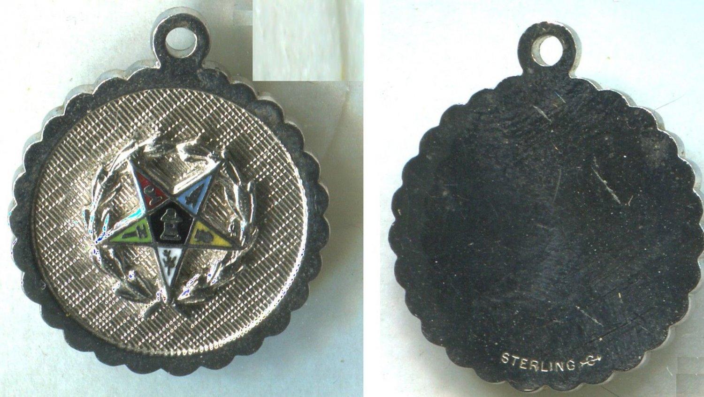 Vintage Masonic Sterling & Enamel Order of the Eastern Star Charm Signed