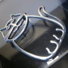 Sterling Silver Brooch / Pin : Signed B.W. Whimsical Fat Cat w/ A Smile 2""
