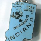 INDIANA HOOSIER STATE : Enamel & Sterling Silver Travel Souvenir Map Charm