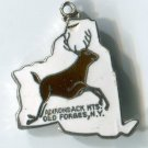 ADIRONDACK MTS OLD FORGES : Enamel & Sterling Silver Travel Souvenir Map Charm