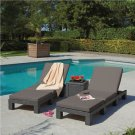 LOUNGER OUTDOOR ADJUSTABLE WICKER POOL-SIDE PATIO PORCH BACKYARD CONTEMPORARY