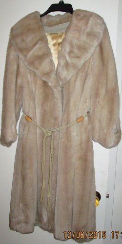 Fur Coat Faux Blue Fox Full Length Elegant Size 10 Medium Rope Belt Smooth Warm