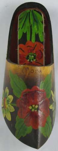 SWEDISH HAND CARVED & PAINTED  MORA WOODEN SHOE & BRUSH WALL POCKET