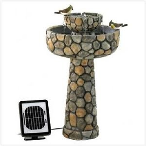WATER FOUNTAIN SOLAR POWERED STATUARY PATIO YARD RESIN ELECTRIC OPTION