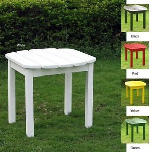 ADIRONDACK SIDE TABLE LAWN GARDEN PATIO PORCH VERANDA SOLID WOOD POLY FINISH NEW