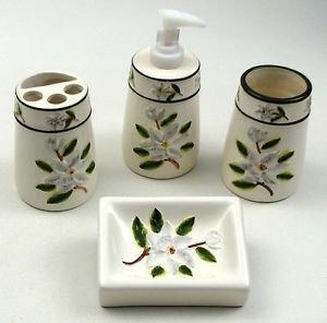 BATHROOM SET CERAMIC DISH SOAP DISPENSER TOOTHBRUSH HOLDER CUP MAGNOLIA MOTIF
