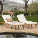 CHAISE LOUNGE 2 ACACIA WOOD CUSHIONS OUTDOOR POOLSIDE  PATIO PORCH DECK YARD NEW