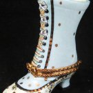 Limoge Victorian Blue Boot France Porcelain Peint Main Pill Box Retired Rare